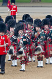 Trooping the Colour 2011: The Band of the Scots Guards, the Pipers in their Royal Stewart Tartan, marching onto Horse Guards Parade. Image #51, 11 June 2011 10:31 Horse Guards Parade, London, UK