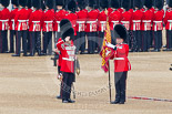 Trooping the Colour 2011: The Duty Drummer saluting the Colour, now that it is uncased and upright. Holding the flag is the Sergeant of the Ecort to the Colour, Colour Sergeant Chris Millin. Image #56, 11 June 2011 10:33 Horse Guards Parade, London, UK