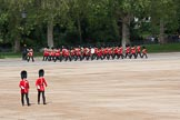 The Colonel's Review 2012: The Band of the Welsh Guards marching along the St James's Park side of Horse Guards Parade, led by Senior Drum Major M Betts, Grenadier Guards. In the foreground an Ensign and a Subaltern of No. 4 Guard, Nijmegen Company Grenadier Guards. Horse Guards Parade, Westminster, London SW1,  United Kingdom, on 09 June 2012 at 10:10, image #16