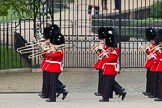 The Colonel's Review 2012: The Band of the Welsh Guards marching along the St James's Park side of Horse Guards Parade, led by Senior Drum Major M Betts, Grenadier Guards.. Horse Guards Parade, Westminster, London SW1,  United Kingdom, on 09 June 2012 at 10:11, image #18