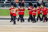 The Colonel's Review 2012: Turning towards Horse Guards Paraded as the first of the Massed Bands to arrive  - the Band of the Welsh Guards, led by Senior Drum Major M Betts, Grenadier Guards.. Horse Guards Parade, Westminster, London SW1,  United Kingdom, on 09 June 2012 at 10:11, image #19