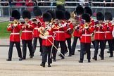 The Colonel's Review 2012: The seconds of the Massed Bands to arrive - the Band of the Scots Guards, led by Drum Major T Taylor, No. 7 Company Coldstream Guards, turning towards Horse Guards Parade.. Horse Guards Parade, Westminster, London SW1,  United Kingdom, on 09 June 2012 at 10:15, image #30