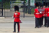 The Colonel's Review 2012: No. 3 Guard (No. 7 Company, Coldstream Guards) getting into position, in front Captain M H Meredith (?).. Horse Guards Parade, Westminster, London SW1,  United Kingdom, on 09 June 2012 at 10:26, image #63