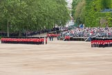 The Colonel's Review 2012: No. 6 guard and No. 5 guard in place at Horse Guards Parade, the Band of the Coldstream Guards just arriving from the Mall.. Horse Guards Parade, Westminster, London SW1,  United Kingdom, on 09 June 2012 at 10:28, image #69
