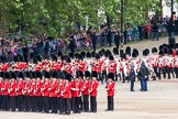 The Colonel's Review 2012: No. 6 guard in place at Horse Guards Parade, the Band of the Coldstream Guards just arriving from the Mall.. Horse Guards Parade, Westminster, London SW1,  United Kingdom, on 09 June 2012 at 10:29, image #71