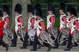The Colonel's Review 2012: Close-up of drummers of the Band of the Coldstream Guards.. Horse Guards Parade, Westminster, London SW1,  United Kingdom, on 09 June 2012 at 10:29, image #75