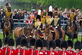 The Colonel's Review 2012: The King's Troop Royal Horse Artillery arriving at the St James's Park side of Horse Guards Parade, behind the lines of guardsmen from No. 1 and No. 2 Guard.. Horse Guards Parade, Westminster, London SW1,  United Kingdom, on 09 June 2012 at 10:42, image #108