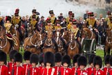 The Colonel's Review 2012: The King's Troop Royal Horse Artillery arriving at the St James's Park side of Horse Guards Parade, behind the lines of guardsmen from No. 1 and No. 2 Guard.. Horse Guards Parade, Westminster, London SW1,  United Kingdom, on 09 June 2012 at 10:42, image #109