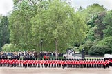 The Colonel's Review 2012: The Northern (St James's Park) side of Horse Guards Parade, on the very left the Major of the Parade, Major Mark Lewis, Welsh Guards, then No. 1 Guard, behind them The King's Troop Royal Horse Artillery.. Horse Guards Parade, Westminster, London SW1,  United Kingdom, on 09 June 2012 at 10:42, image #110