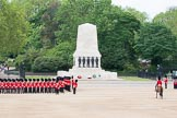 The Colonel's Review 2012: The Northern (St James's Park) side of Horse Guards Parade, with a gap opened by the line of guardsmen, in front of the Guards Memorial, for the Royal guests to arrive.. Horse Guards Parade, Westminster, London SW1,  United Kingdom, on 09 June 2012 at 10:42, image #111