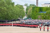 The Colonel's Review 2012: The Northern (St James's Park) side of Horse Guards Parade, with the road leading to the Mall on the left of the grandstand. On the very right of the photo: The Colour Sergeant with the two Ensigns, and the Adjutant of the parade.. Horse Guards Parade, Westminster, London SW1,  United Kingdom, on 09 June 2012 at 10:42, image #113