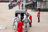 The Colonel's Review 2012: Royal Coachman Jack Hargreaves with the two Windsor Grey horses that would pull the Ivory Mounted Phaeton with Her Majesty during the parade. On the right GSM 'Billy'' Mott.. Horse Guards Parade, Westminster, London SW1,  United Kingdom, on 09 June 2012 at 10:58, image #162