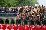 The Colonel's Review 2012: The King's Troop Royal Horse Artillery behind No. 1 Guard and in front of spectators watching from St James's Park.. Horse Guards Parade, Westminster, London SW1,  United Kingdom, on 09 June 2012 at 11:06, image #204