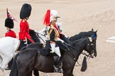 The Colonel's Review 2012: From top to bottom: Aide-de-Camp Captain F A O Kuku, Grenadier Guards, Chief of Staff Colonel R H W St G Bodington, Welsh Guards, Silver-Stick-in-Waiting, Colonel S H Cowen, The Blues and Royals (Royal Horse Guards and 1st Dragoons).. Horse Guards Parade, Westminster, London SW1,  United Kingdom, on 09 June 2012 at 11:05, image #203