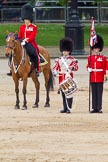 "The Colonel's Review 2012: The Major of the Parade, Major Mark Lewis, Welsh Guards, and the ""lone drummer"" that is about to start the next phase of the parade.. Horse Guards Parade, Westminster, London SW1,  United Kingdom, on 09 June 2012 at 11:12, image #244"