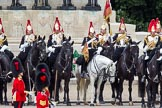 The Colonel's Review 2012: Standard Coverer, Standard Bearer, Trumpeter, and members of The Blues and Royals in front of the Guards Memorial.. Horse Guards Parade, Westminster, London SW1,  United Kingdom, on 09 June 2012 at 11:28, image #300