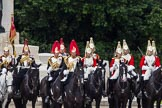 The Colonel's Review 2012: The Blues and Royals, and The Life Guards, at the St James's' Park sie of Horse Guards Parade, next to the Guards Memorial.. Horse Guards Parade, Westminster, London SW1,  United Kingdom, on 09 June 2012 at 11:28, image #301