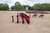 The Colonel's Review 2012: Another overview of Horse Guards Parade during the March Past. The Field Officer, in front of the Major of the Parade, on the right.. Horse Guards Parade, Westminster, London SW1,  United Kingdom, on 09 June 2012 at 11:43, image #339