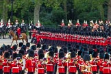 The Colonel's Review 2012: No. 1 Guard (Escort for the Colour), 1st Battalion Coldstream Guards, during the March Past, with the Mounted Bands of the Household Cavalry in the background, and the Massed Bands in the foreground.. Horse Guards Parade, Westminster, London SW1,  United Kingdom, on 09 June 2012 at 11:46, image #346