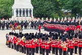 The Colonel's Review 2012: The March Past. The Major of the Parade, Major Mark Lewis, Welsh Guards, on horseback, ise leading No. 1 Guard  along The Blues and Royals and The Life Guards. In the background the Guards Memorial.. Horse Guards Parade, Westminster, London SW1,  United Kingdom, on 09 June 2012 at 11:46, image #349