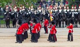The Colonel's Review 2012: No. 1 Guard (Escort for the Colour), 1st Battalion Coldstream Guards, during the March Past, with The Blues and Royals behind.. Horse Guards Parade, Westminster, London SW1,  United Kingdom, on 09 June 2012 at 11:46, image #352
