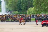 The Colonel's Review 2012: Leading the March Past, the Major of the Parade, Major Mark Lewis Welsh Guards, is riding along the King's Troop Royal Horse Artillery. Behind them St. James's Park.. Horse Guards Parade, Westminster, London SW1,  United Kingdom, on 09 June 2012 at 11:46, image #353