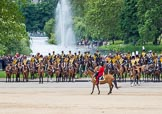 The Colonel's Review 2012: Leading the March Past, the Major of the Parade, Major Mark Lewis Welsh Guards, is riding along the King's Troop Royal Horse Artillery. Behind them St. James's Park.. Horse Guards Parade, Westminster, London SW1,  United Kingdom, on 09 June 2012 at 11:46, image #354