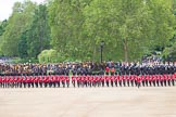 The Colonel's Review 2012: The March Past - The guards are changing their formation, turning left and forming long double rows of guardsmen again. The gaps are now closed.. Horse Guards Parade, Westminster, London SW1,  United Kingdom, on 09 June 2012 at 11:47, image #359