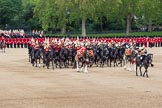 The Colonel's Review 2012: The Mounted Bands of the Household Cavalry have changed direction and are now riding towards HW The Queen.. Horse Guards Parade, Westminster, London SW1,  United Kingdom, on 09 June 2012 at 11:51, image #388