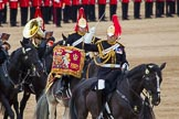 The Colonel's Review 2012: The Senior Director of Music, Lieutenant Colonel S C Barnwell, Welsh Guards, and the Kettle Drummer from The Blues and Royals behind him.. Horse Guards Parade, Westminster, London SW1,  United Kingdom, on 09 June 2012 at 11:51, image #389