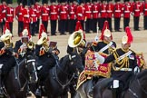 The Colonel's Review 2012: The Senior Director of Music, Lieutenant Colonel S C Barnwell, Welsh Guards, and the Kettle Drummer from The Blues and Royals and parts of the Blues and Royals Band behind him.. Horse Guards Parade, Westminster, London SW1,  United Kingdom, on 09 June 2012 at 11:51, image #390
