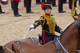 The Colonel's Review 2012: A ceremonial gunner on one of the six horses that pull a 13-pounder gum, saluting with the whip.. Horse Guards Parade, Westminster, London SW1,  United Kingdom, on 09 June 2012 at 11:52, image #400