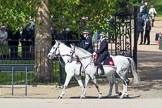 Trooping the Colour 2012: Metropolitan Police on Horseback riding along the St. James's Park side of Horse Guards Parade.. Horse Guards Parade, Westminster, London SW1,  United Kingdom, on 16 June 2012 at 09:45, image #7