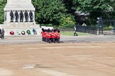 "Trooping the Colour 2012: The ""Keepers of the Ground"" arriving, they will mark the positions of their Guard Division on Horse Guards Parade. Behind them the Guards Memorial.. Horse Guards Parade, Westminster, London SW1,  United Kingdom, on 16 June 2012 at 09:52, image #9"