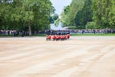 Trooping the Colour 2012: The Band of the Scots Guards turning onto Horse Guards Parade. Behind them St. James's Park, with Buckingham Palace in the background.. Horse Guards Parade, Westminster, London SW1,  United Kingdom, on 16 June 2012 at 10:17, image #34
