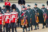 Trooping the Colour 2012: The Band of the Irish Guards arriving on Horse Guards Parade, here the drummers and the pipers in the saffron kilts.. Horse Guards Parade, Westminster, London SW1,  United Kingdom, on 16 June 2012 at 10:26, image #53