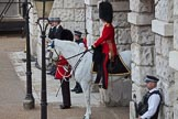 Trooping the Colour 2012: A closer look at the Adjutant of the Parade, Captain F O B Wells, Coldstream Guards, and his horse, standing in Horse Guards Arch.. Horse Guards Parade, Westminster, London SW1,  United Kingdom, on 16 June 2012 at 10:27, image #58