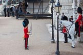 Trooping the Colour 2012: Subaltern and Ensign of No. 5 Guard, 1st Battalion Irish Guards, reporting to the Adjutant of the Parade, Captain F O B Wells, Coldstream Guards.. Horse Guards Parade, Westminster, London SW1,  United Kingdom, on 16 June 2012 at 10:29, image #64