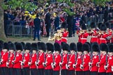 Trooping the Colour 2012: The Band of the Coldstream Guards arriving, with Drum Major Scott Fitzgerald, Coldstream Guards. They are here passing No. 5 Guard, 1st Battalion Irish Guards.. Horse Guards Parade, Westminster, London SW1,  United Kingdom, on 16 June 2012 at 10:29, image #66