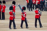 Trooping the Colour 2012: Colour Sereant Paul Baines, carrying the Colour, with the two sentries, guardsmen Gareth Effrington and Kyle Dunbarth. Paul Baines is wearing the Military Cross he received for bravery whilst serving in Afghanistan.. Horse Guards Parade, Westminster, London SW1,  United Kingdom, on 16 June 2012 at 10:31, image #71
