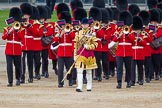 Trooping the Colour 2012: Drum Major Scott Fitzgerald, Coldstream Guards, leading the Band of the Coldstream Guards onto Horse Guards Parade.. Horse Guards Parade, Westminster, London SW1,  United Kingdom, on 16 June 2012 at 10:31, image #72