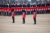 Trooping the Colour 2012: The Colour Party in position at the Eastern side of Horse Guards Parade. Colour Sereant Paul Baines MC with the two sentries, guardsmen Gareth Effrington and Kyle Dunbarth.. Horse Guards Parade, Westminster, London SW1,  United Kingdom, on 16 June 2012 at 10:32, image #74