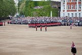 Trooping the Colour 2012: An overview of the Eastern side of Horse Guards Parade: On the left the approach road to the Mall, from where the Royal Party will arrive, then the ivy-covered Citadel, and the Old Admirality Building. In the centre the Colour Party, behind them No. 6 Guard, F Company Scots Guards.. Horse Guards Parade, Westminster, London SW1,  United Kingdom, on 16 June 2012 at 10:32, image #75