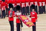 Trooping the Colour 2012: The uncasing the of Colour. With Colour Sergeant Paul Baines MC holding the flag, the Duty Drummer has removed the colour case.. Horse Guards Parade, Westminster, London SW1,  United Kingdom, on 16 June 2012 at 10:32, image #79