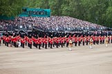Trooping the Colour 2012: The Western side of Horseguards Parade, with the Massed Bands in place, and the BBC broadcasting team and other television crews and photographers above the grandstands.. Horse Guards Parade, Westminster, London SW1,  United Kingdom, on 16 June 2012 at 10:35, image #84