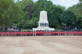 Trooping the Colour 2012: The long row of guardsmen at the Northern side of Horse Guards Parade, in front of the Guards Memorial.. Horse Guards Parade, Westminster, London SW1,  United Kingdom, on 16 June 2012 at 10:35, image #90