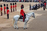 Trooping the Colour 2012: The Adjutant of the Parade, Captain F O B Wells, Coldstream Guards, reporting to the Field Officer.. Horse Guards Parade, Westminster, London SW1,  United Kingdom, on 16 June 2012 at 10:38, image #98
