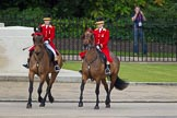 Trooping the Colour 2012: Two outriders (female liveried grooms from the Royal Mews) leading the first group of carriages.. Horse Guards Parade, Westminster, London SW1,  United Kingdom, on 16 June 2012 at 10:50, image #116