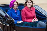 Trooping the Colour 2012: Princesses Beatrice and Eugenie of York in the second carriage.. Horse Guards Parade, Westminster, London SW1,  United Kingdom, on 16 June 2012 at 10:51, image #128