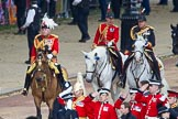 Trooping the Colour 2012: The Master of the Horse, The Lord Vestey, behind him, in the red uniform, the Equerry in Waiting to Her Majesty, Lieutenant Colonel A F Matheson of Matheson, younger, and the Crown Equerry, Colonel W T Browne.. Horse Guards Parade, Westminster, London SW1,  United Kingdom, on 16 June 2012 at 10:58, image #152